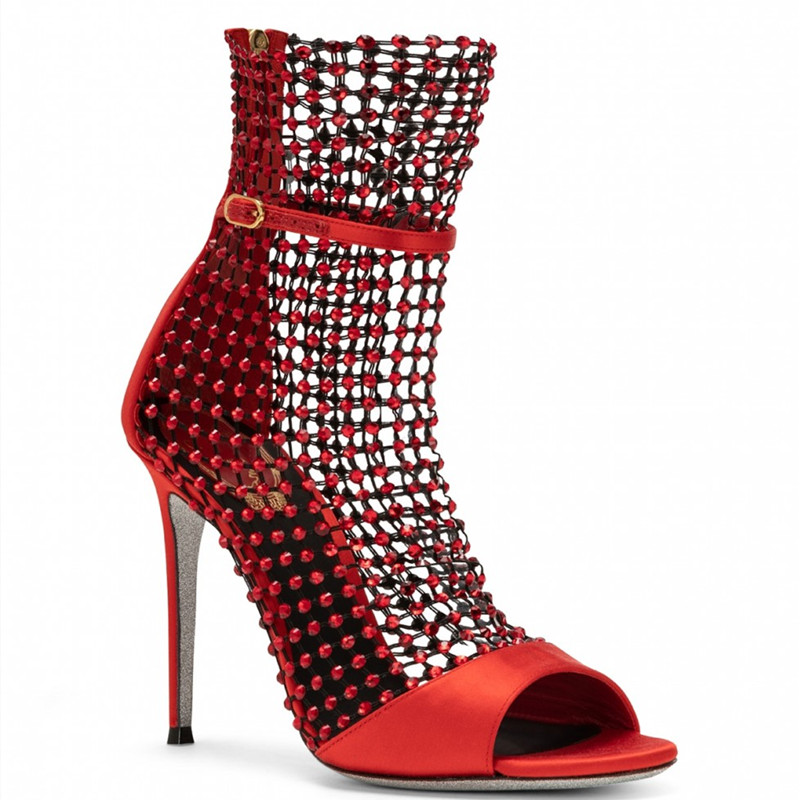 Sexy Peep Toe Mesh Summer Boot Women Cut Out Ankle Strap Sandals High Heels Lady Buckle Strap Gladiator Boots Sandalias Mujer