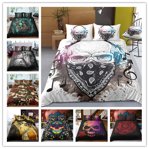 Drop Shipping 3D Black Skull Bedding Set Print Duvet Cover Set Bedclothes With Pillowcase Bed Home Textiles