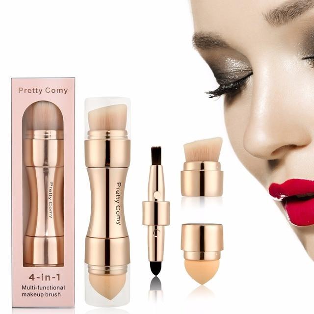 Envío gratis 4 en 1 Pro herramienta de maquillaje base cejas brocha colorete delineador de ojos en polvo corrector cosmético brochas de maquillaje