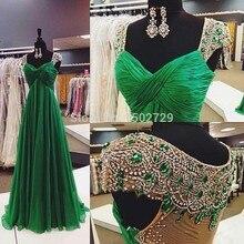 2017 Vestido De Festa Longo Real Image Crystal Sexy V Neck Cap Sleeves Long Chiffon Emerald
