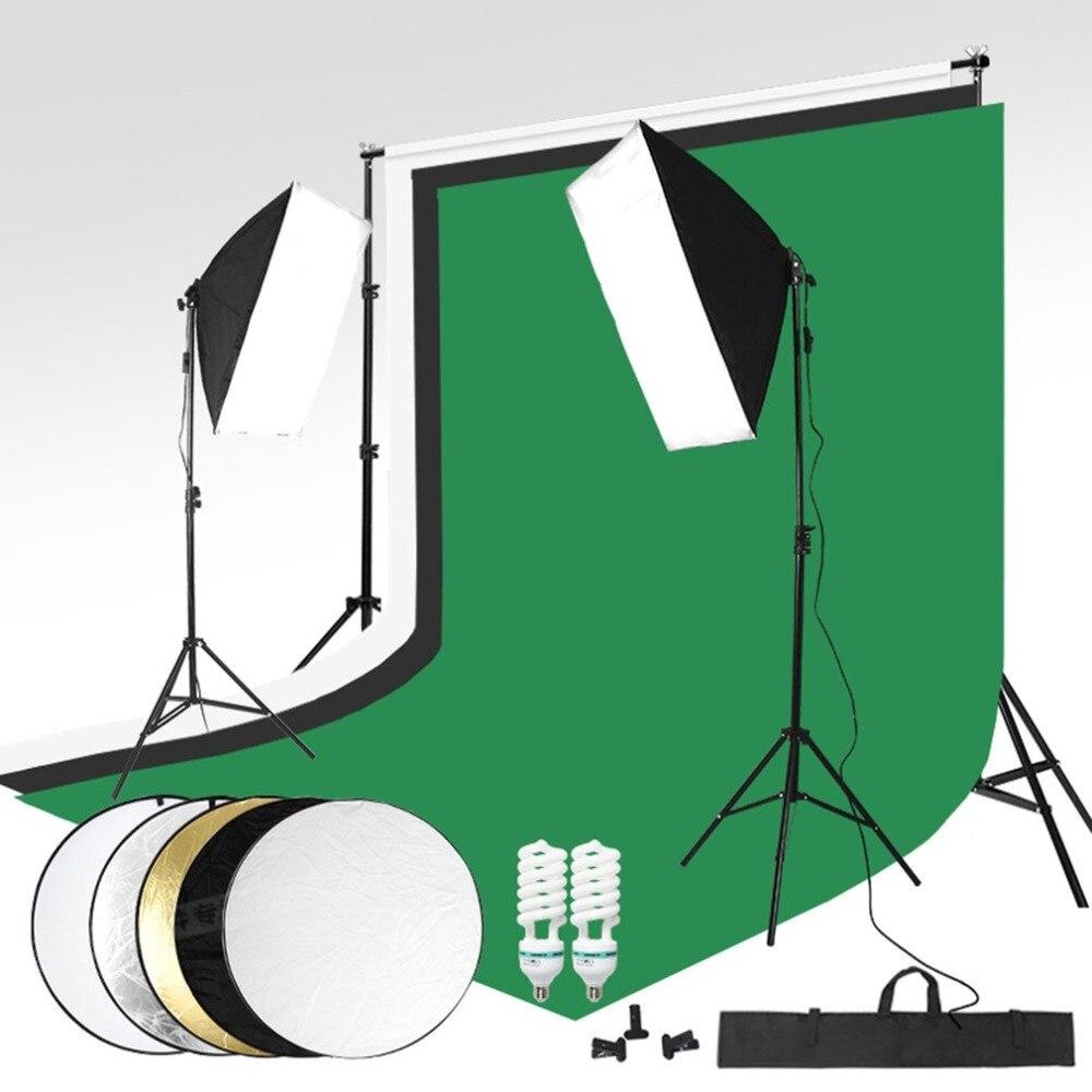 Prime Photo Studio Kit Photo Softbox Lumière Trépied Stand Titulaire Ampoule Contexte Tir Enregistrement Photographe