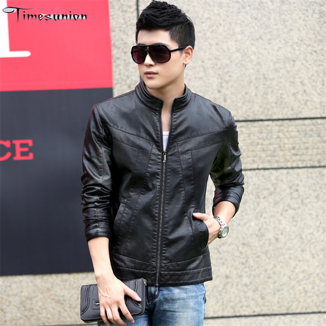 New Arrival Men's Fashion Jacket Leather PU Spring Autumn Winter Solid Coat Full Sleeve Parkas 4 Colors 5 size Free Shipping