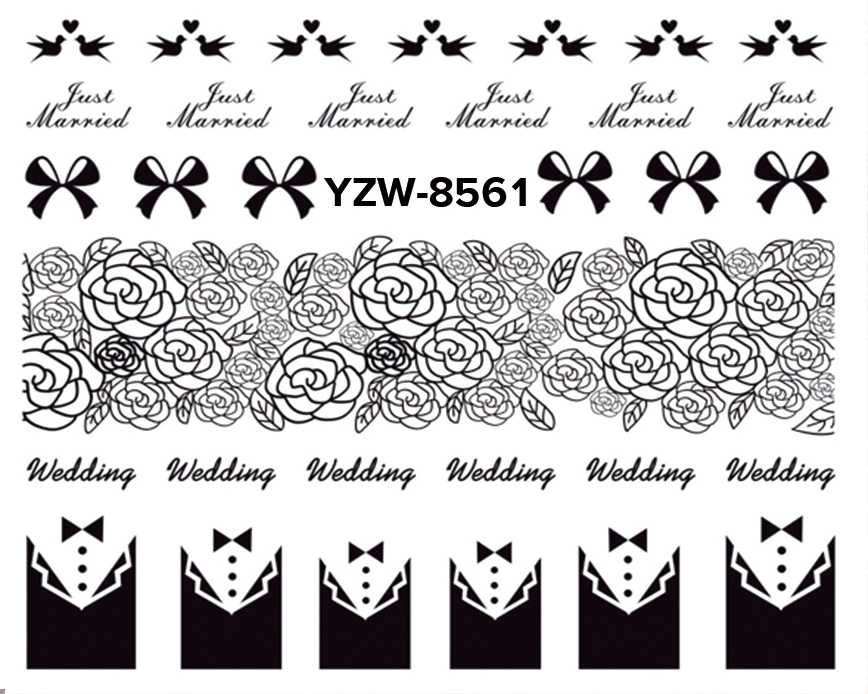 YZWLE 1 Pc Optional Black Lace Flower Nail Stickers Beauty Nail Art Water Decal Decorations Sticker On Nails Accessories