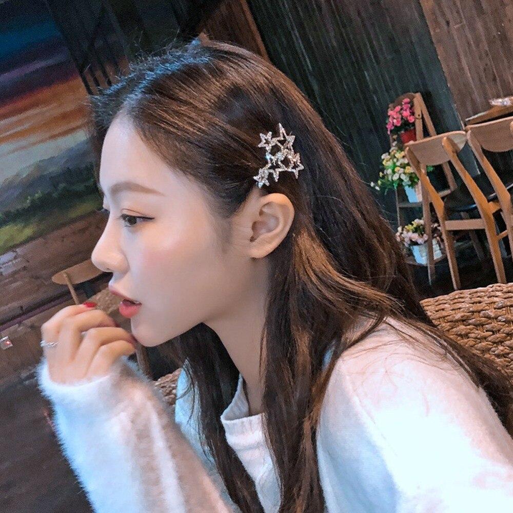 M MISM, корейский стиль, милая Женская Девушка, со стразами, снег, пять звезд, заколка для волос, простая элегантная шпилька для волос, аксессуары, боковой зажим