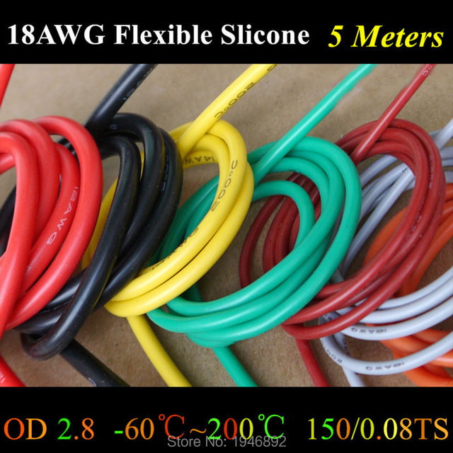 5 Meter 18 AWG Flexible Silikon Draht RC Kabel 150/0. 08TS OD 2,3mm ...