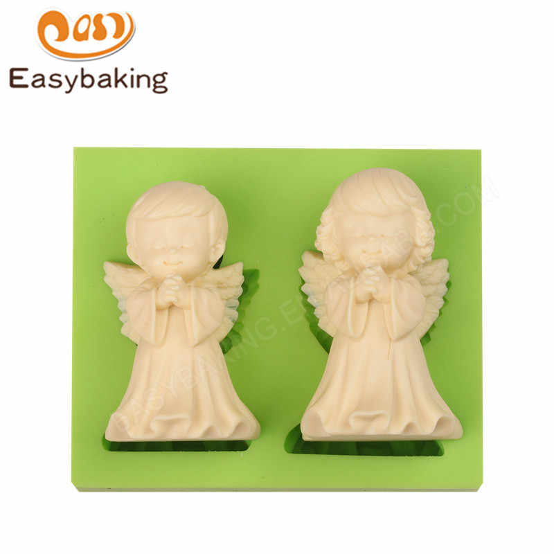 Large Size Boy and Girl Angels Shaped Fairy Tale Couple Silicon Mold Fondant Cake Decoration Mould for Fimo Resin Arts & Crafts