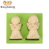 גודל גדול ילד וילדה מלאכים בצורת אגדה הסיליקון זוג עובש קישוט עוגת פונדנט עובש עבור אומנויות & אמנות פימו שרף