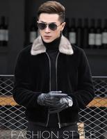 Новая овечья стриженная мужская кожаная куртка из натуральной кожи норковая шуба куртка с отворотом белый норковый воротник