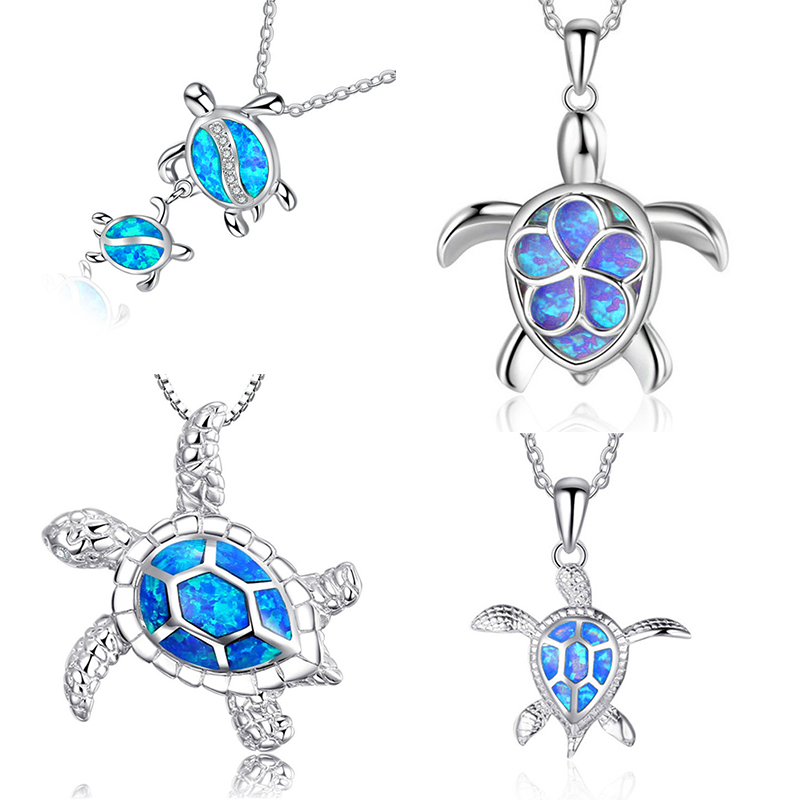 Fashion Blue Opal Sea Turtle Pendant Necklaces for Women Female Animal Wedding Statement Chain Necklace Ocean Beach Jewelry Gift