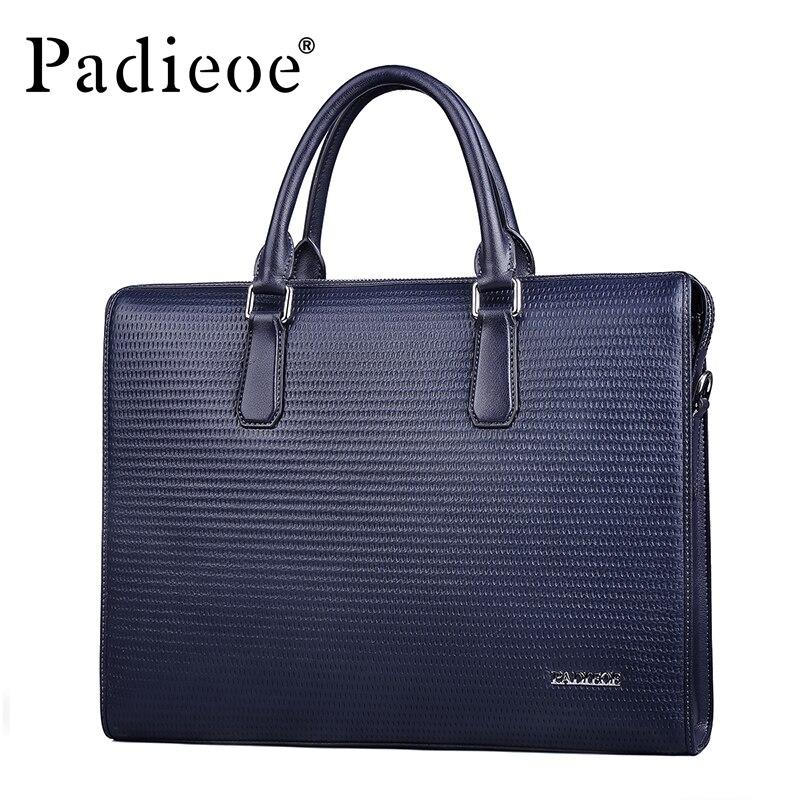 Padieoe Men Bag Briefcase Leather Computer Bag Messenger Handbag Purses Jobs Genuine Leather