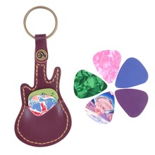 Key Ring Leather Paddles Package Case Holder For Guitar Picks Guitar Accessories With 5 Random Paddles Guitar Sweep-dial Parts 1 hot sale black guitar picks case faux leather key chain style guitar bass picks holder plectrums case bag guitar parts accessory