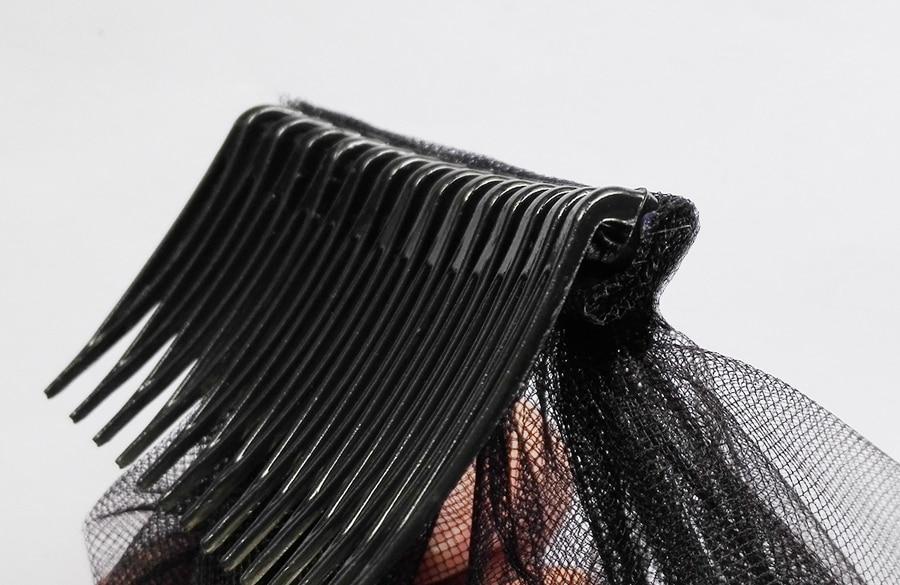 Zwarte bruidssluier met kam kort kant geappliqueerde rand tule bruids - Bruiloft accessoires - Foto 4