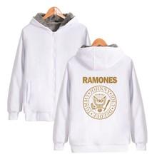 ALIZAZA Punk-Rock Ramones Hoodie Sweatshirt Zipper Punk Music Hot Band Hoodies Zipper Hooded Sweatshirts Plus Size thicken