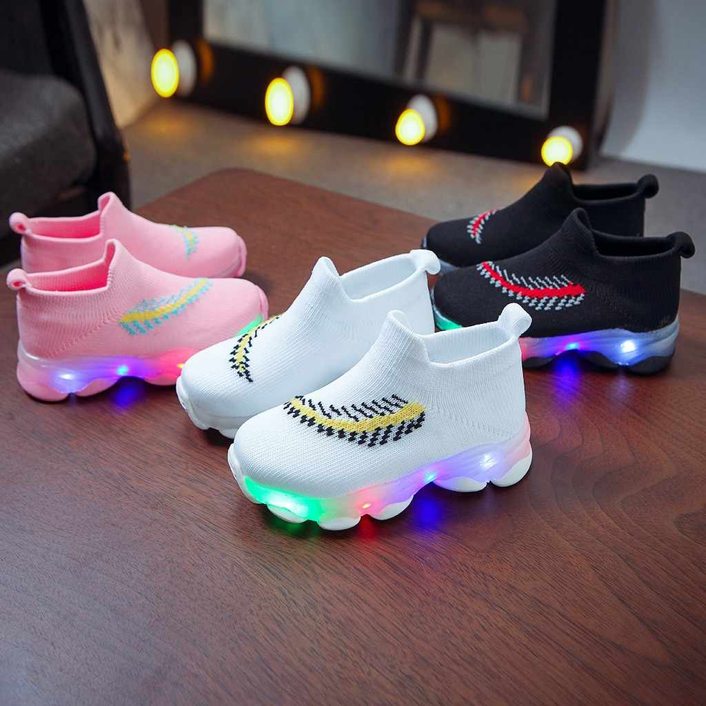 Sneakers Children Baby Girls Boys Feather Mesh Led Luminous Socks Sport Run Sneakers Sapato Infantil Menina Light Up Shoes