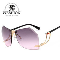 2017 Oversize Rimless Hexagon Sunglasses Women Gradient Clear Eyewear Cutting Diamond Lens Men Unique Sun Glasses