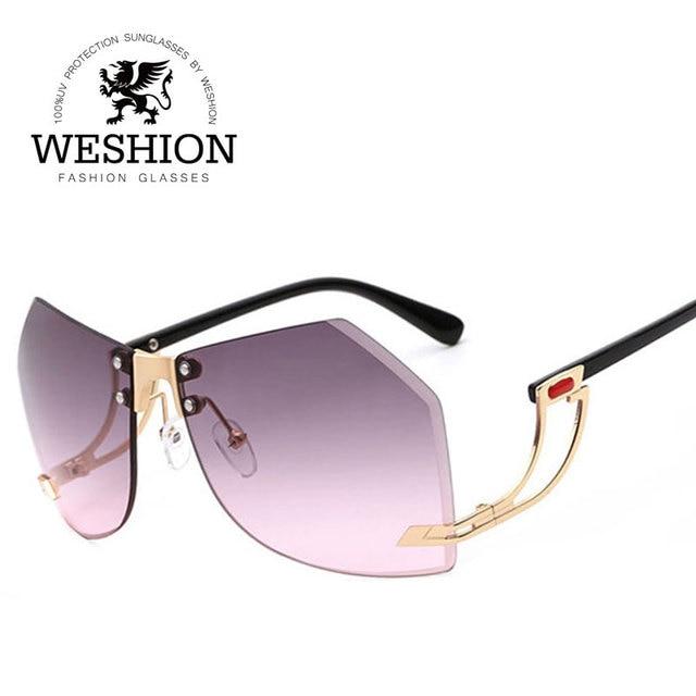 49d9a022451 2017 Oversize Rimless Hexagon Sunglasses Women Gradient Clear Eyewear  Cutting Diamond Lens Men Unique Sun Glasses