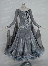 Waltz Tango Ballroom Dance Dress, Girls/Women Modern Dance/Perform Costume/Wear,  Ballroom Standard Dance Dress,gray color
