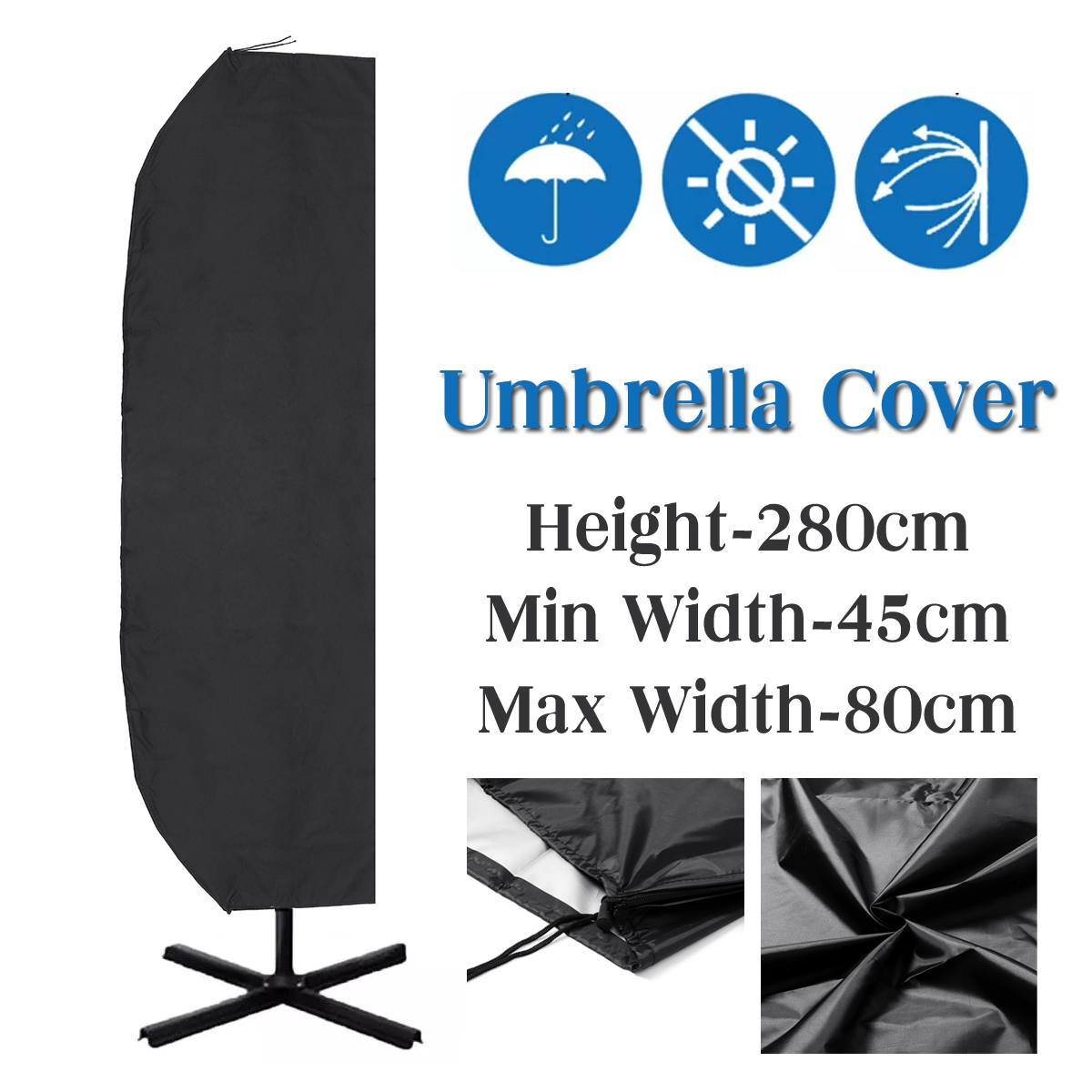 280cm Height Parasol Banana Umbrella Cover Waterproof Windproof Outdoors Shelter Rain Covers Accessories