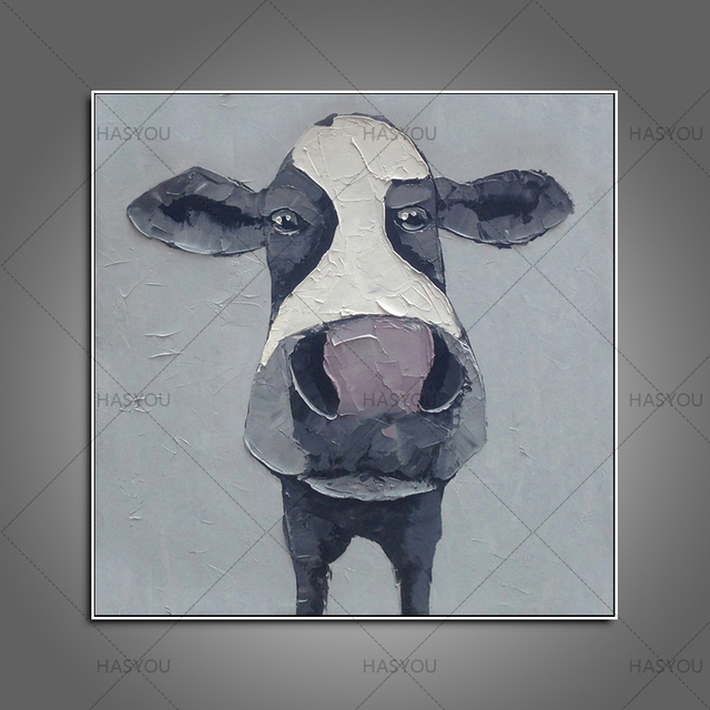 Animal Pop Art Cow Oil Painting Wall Art Picture Paiting Canvas Paints Home  Decor Abstract Hand