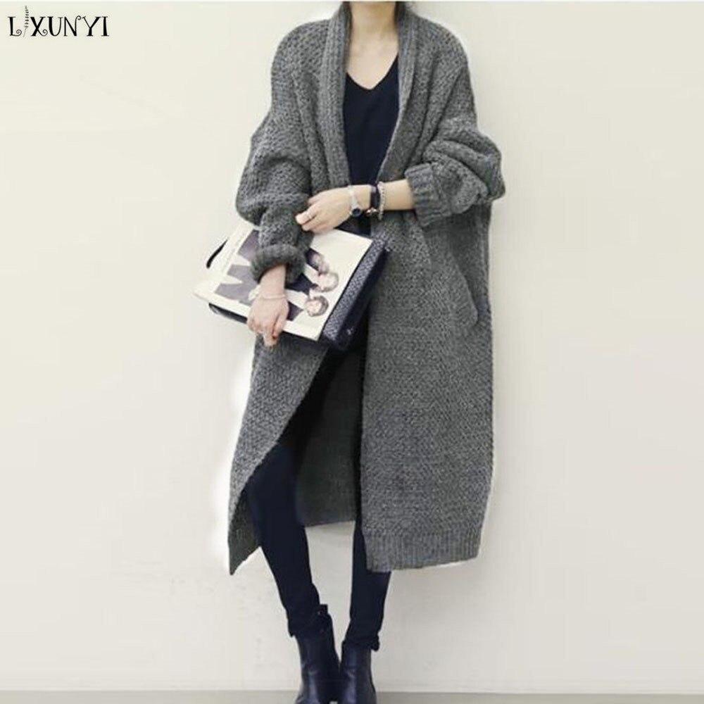 LXUNYI Long Cardigan Women 2018 Autumn Winter Korean Ladies Plus Size Thickening Batwing Sleeve Loose Sweaters Cardigans Coat