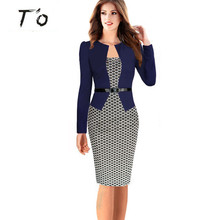 Lady High Grade Elegant Belted Tartan Faux Twinset bodycon big desgin big size Woman Wear Casual Business Pencil Sheath Dress 20