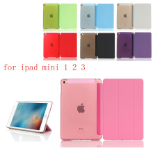 PC Leather Case for Apple iPad Mini 1 2 3 Fashion Smart Cover + translucent back A1432`A1454`A1489`A1491`A1599