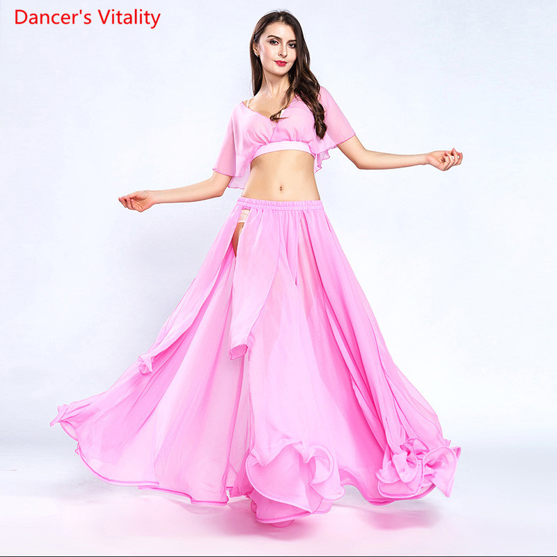 New Women s Chiffon Suit Summer 2 pcs Belly Dance Skirt Dancer Performance Costumes11 Colors Free