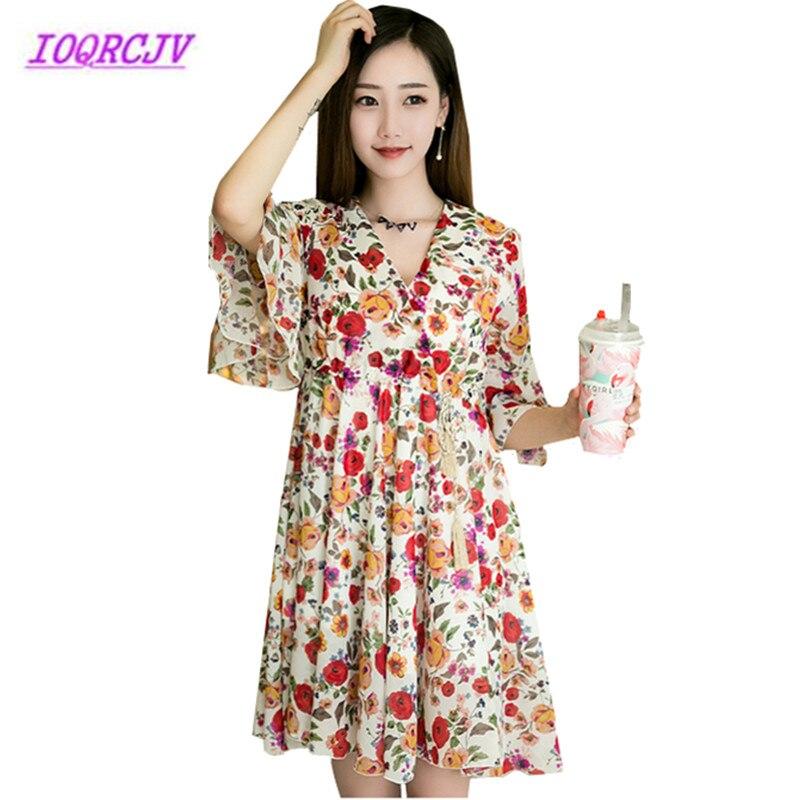 Grande taille 4XL robe d'été femmes 2018 robe en mousseline de soie col en V volants imprimé pulls haut manches évasées grande balançoire robe B054