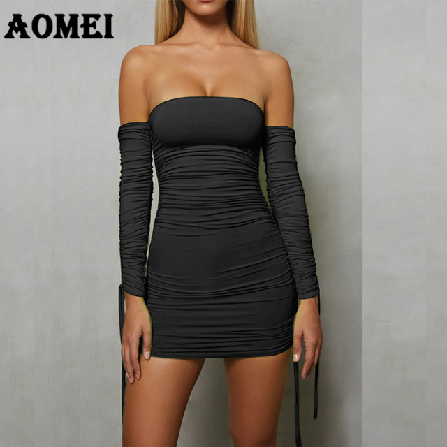 cc7643087a Women Tube top Dress Sexy Party Dress Black Bodycon Backless Off Shoulder  Elastic Slim Clubwear Bandage Plus Size Female Clothes