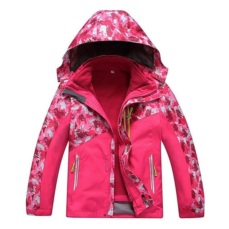 Veste d'extérieur enfant fille isolé thermique coupe-vent imperméable 2 en 1 enfant amovible Ski snowboard vestes à capuche manteau