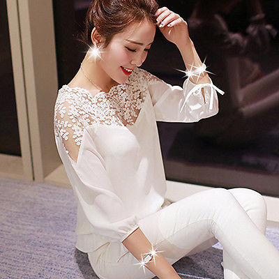 Womens Ladies Lace shirt Long Sleeve Loose Blouse Casual Shirt Tops Fashion Blause