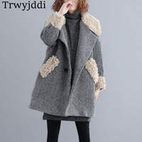 2019 Fashion Large Size Women's Autumn Winter Woolen Coat Korean Striped Lambskin Loose Jackets N300