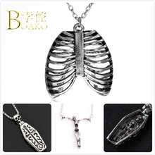 BOAKO Gothic Stainless Steel Necklace For Men/Women Skeleton Necklace Halloween Rib Pendant Necklace Girl Punk Necklace B5