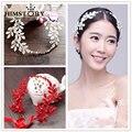 Moda vintage rojo/blanco rama de Olivo estilo princesa tocados accesorios para el cabello flor de la boda accesorios de cristal