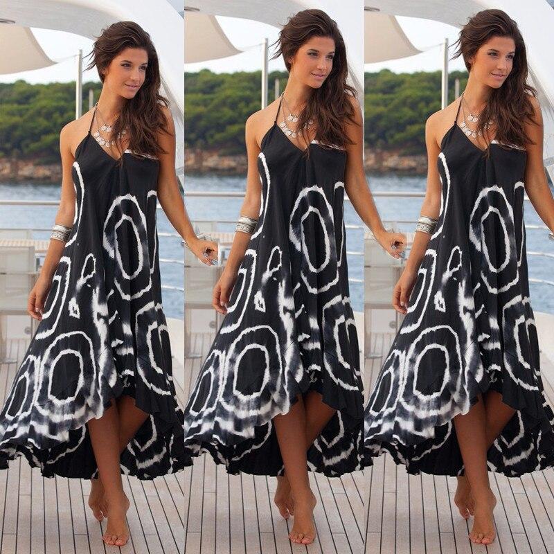 Buy Women Sexy Summer Halter String Strappy Shoulder V Neck Dress Boho Maxi Long  Beach Dress square Printing Chic Dress