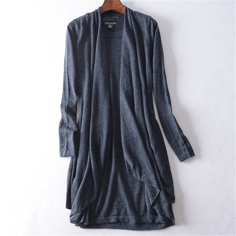 New Arrival 100%wool Solid Knit Women Fashion Vneck Long Cardigan Sweater S-L Retail Wholesale