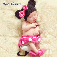 Cute Baby Photography Props Crochet Knit Infant Costume Children Clothes Newborn Cartoon Set Outfits Photo Accessories