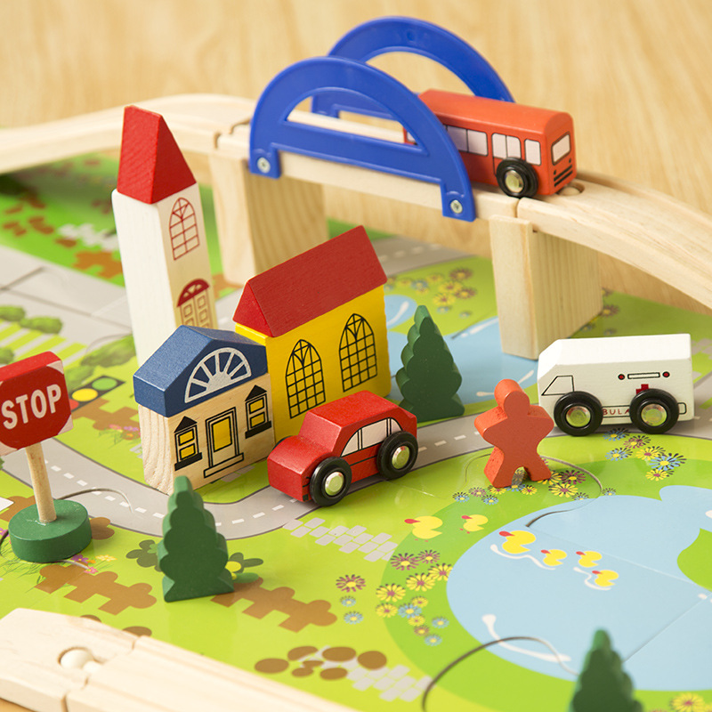 Urban rail intersection traffic scene combination wooden toys, The train track disassembling, Childrens educational toys