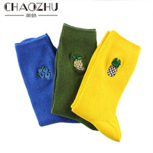 CHAOZHU New Embroidered Fruit Japanese High School Girls Lady Loose Socks Blueberry pineapple avocado grape peach banana cherry