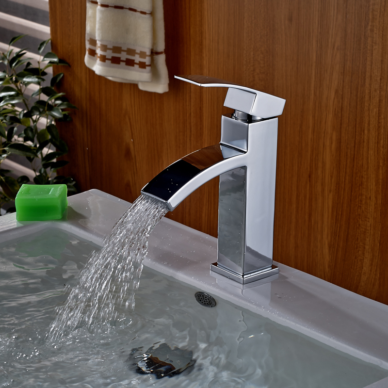 цена на Free Shipping Brass Waterfall Basin Faucet Single Lever Vanity Sink Mixer Tap Chrome Finished