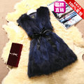 Raccoon fur vest women long style autumn winter 2017 fashion color gradient slim real raccoon dog fur vests waistcoats with belt