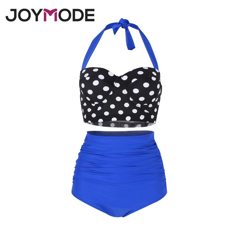 JOYMOD 2017 Two Pieces Retro Polka Dot High Waist Bikini Swimsuits Underwire Halter Neck Women Sexy Straps stitching Swimwear -F цена 2017