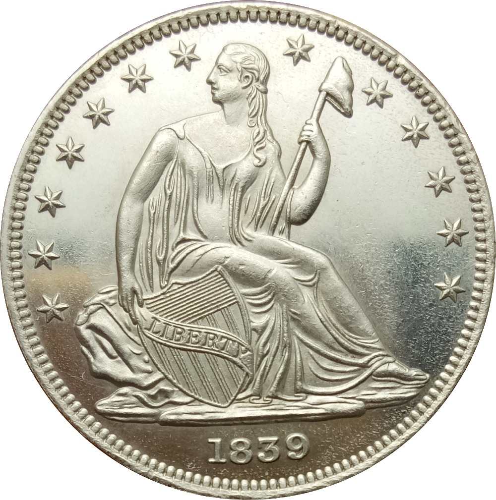 United States 1839 Liberty Seated Half Dollar - No Drapery From Elbow 90% Silver Copy CoinsUnited States 1839 Liberty Seated Half Dollar - No Drapery From Elbow 90% Silver Copy Coins