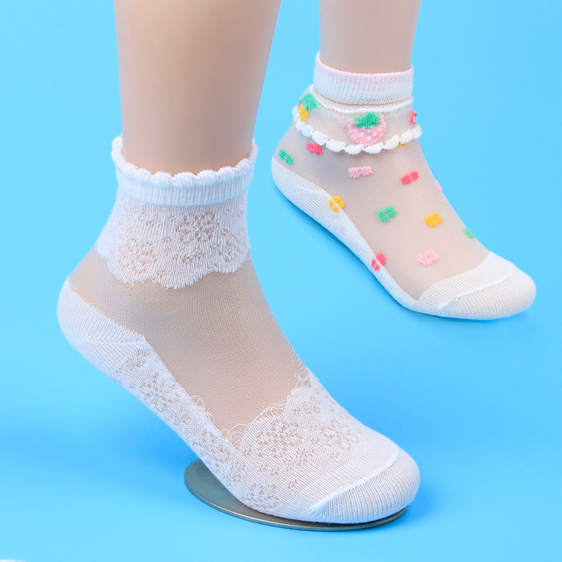 Girls Socks Mesh Style Baby Socks with Trendy Elastic Lace Flowers Summer New Arrival Wh ...