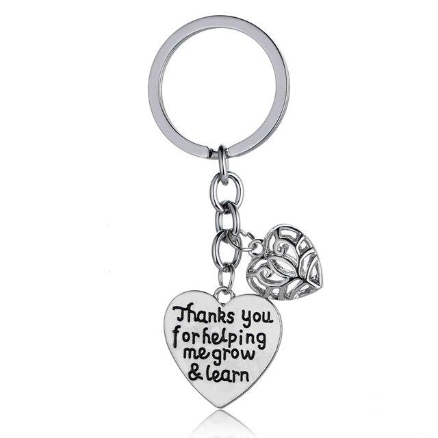 5374bfa1e Thanks For Helping Me Grow & Learn Teachers Heart Charm Keychain Key Ring  Gift For Teachers ...