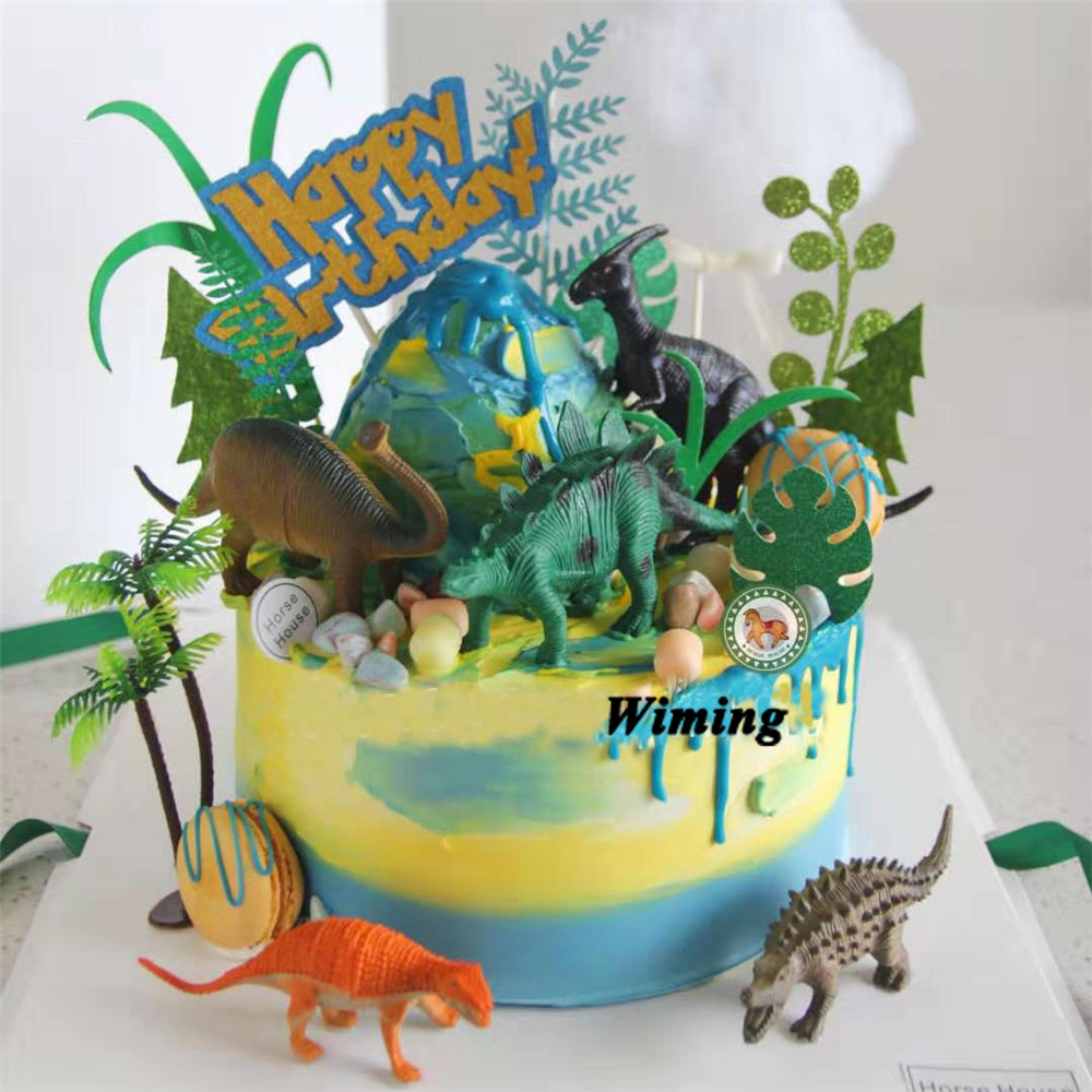dinosaur cake topper kids themed birthday parties gifts for kids baby children toys dinosaur birthday party cupcake toppers image