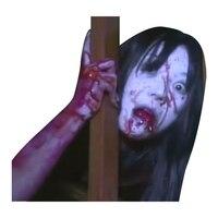 Fantasma Pegatinas de Coches Ventana Trasera Interior Sticker Nuevo 3D Horrible Chica de Pelo Largo Dama de Halloween Pegatina Reflectante Etiqueta Engomada Del Coche