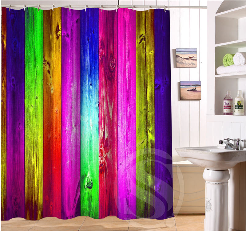 Colored Fluorescent Color Decorative Pattern Personalized Custom Shower Curtain Bath Waterproof Eco Friendly SQ0506 L03 In Curtains From Home