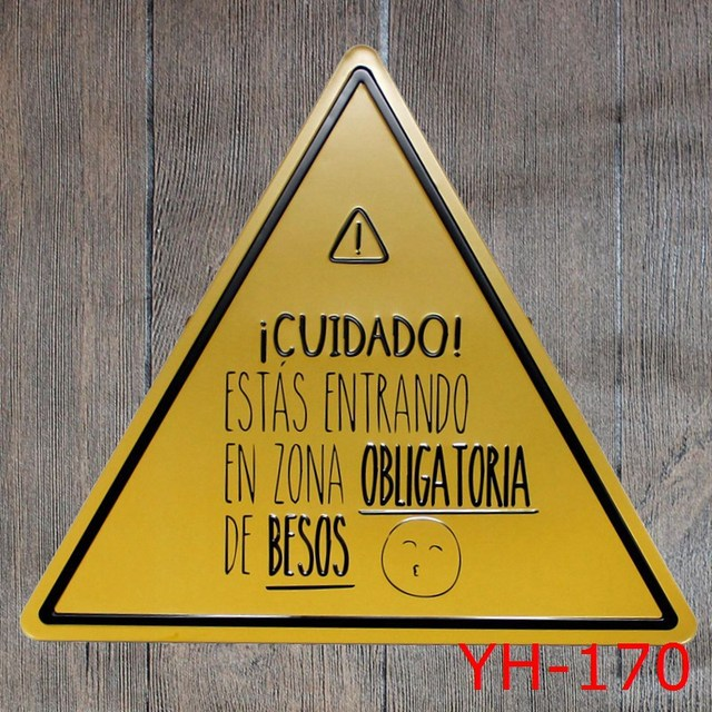 YELLOW COLOR Triangle Shape Tin signs IRON Wall Sticker Metal Tin ...