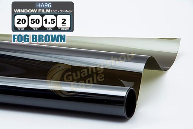 1.52 * 30 m de alto rendimiento del coche del animal doméstico Solar Car Window Tint Film Foil envío gratis / niebla marrón / HA-962